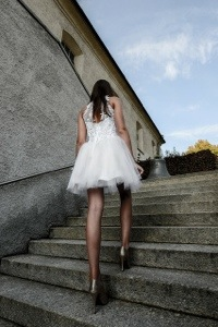 white dress stairs